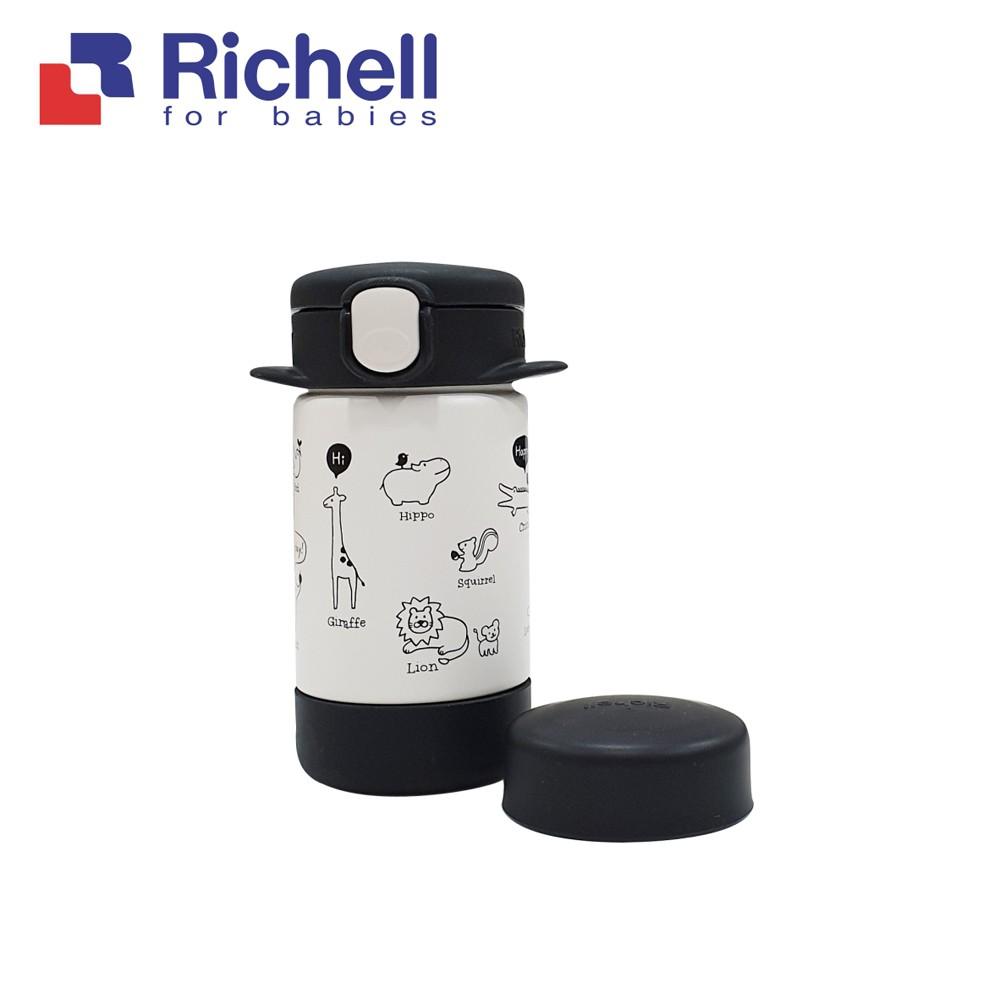 Richell 利其爾 俏皮黑隨身型兩用不鏽鋼保溫杯_160ml(吸管上蓋,直飲上蓋兩種替換使用)