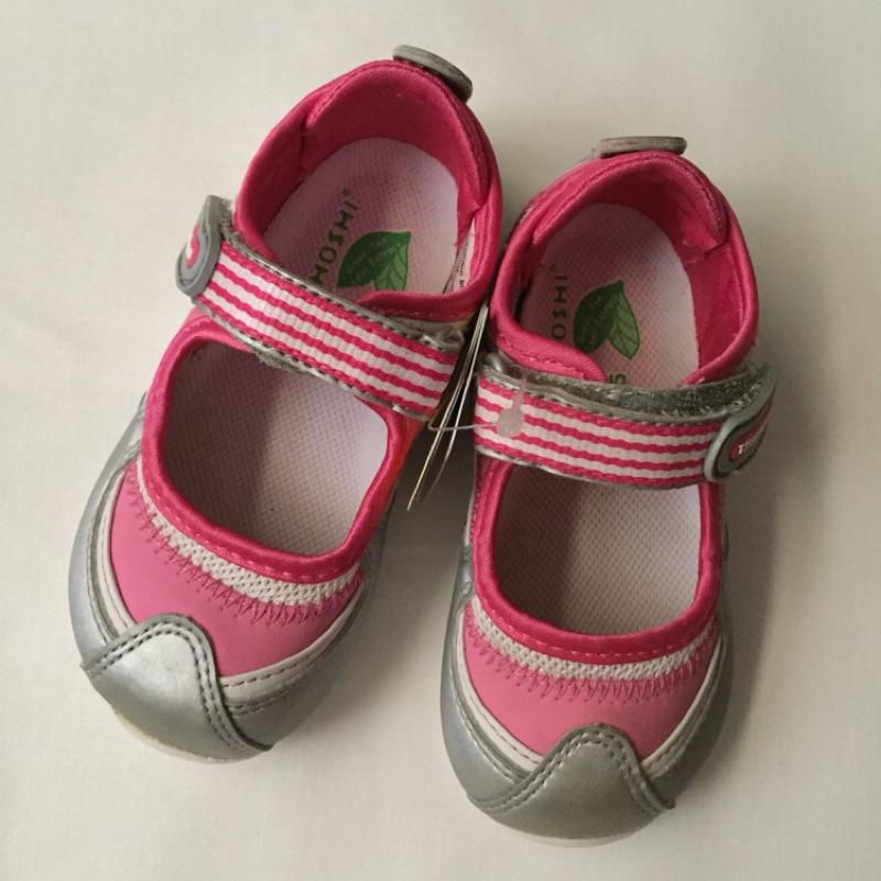 日本moonstar月星TSUKIHOSHI抗菌防臭防止扁平足矯正鞋超輕量魔鬼氈女寶寶鞋童鞋學步鞋機能鞋~13.5cm