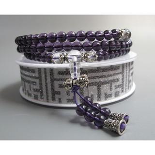【古玩波波】特價出清 紫水晶配白水晶多圈手鏈藏銀108顆念珠6mm--703287 臺中市