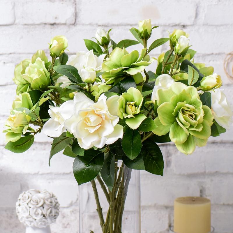 【花韻】仿真梔子花假花絹花 家居裝飾花客廳臥室擺件花卉 婚禮禮物
