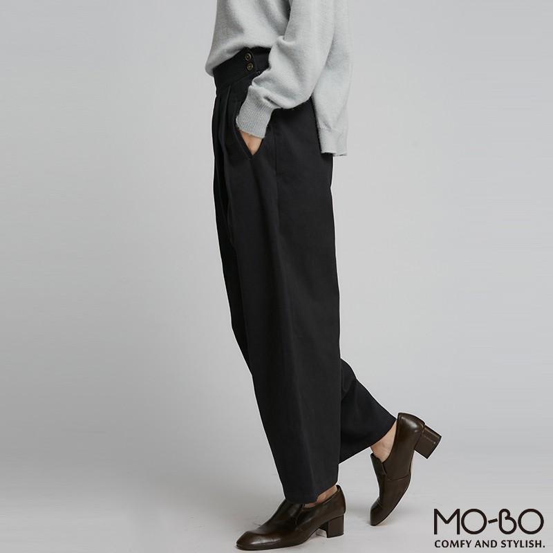 MOBO 腰部打褶厚斜紋寬褲/03020457