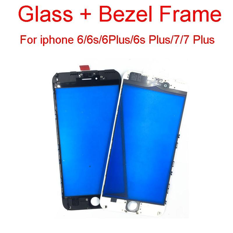 帶有鏡架的前外屏玻璃鏡片, 適用於 Iphone 6g 6s 6 Plus 7 7plus 觸摸面板中間邊框更換零件