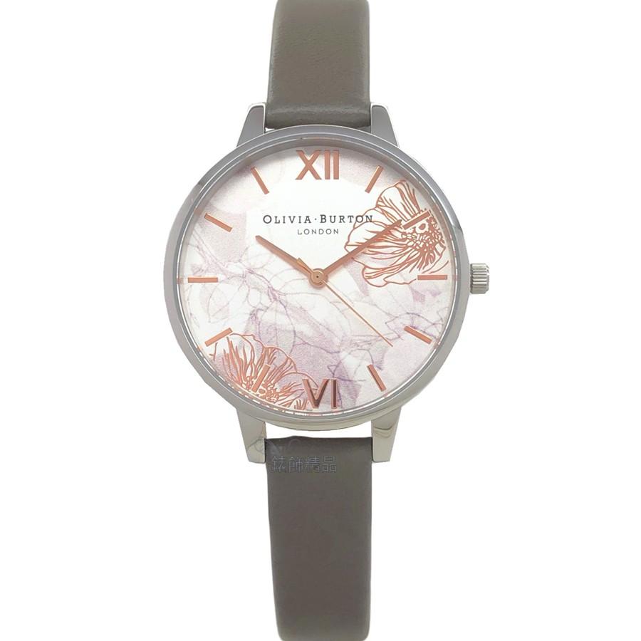 OLIVIA BURTON 手錶 OB16VM32 迷霧金絲花香 倫敦灰皮錶帶 女錶 34mm
