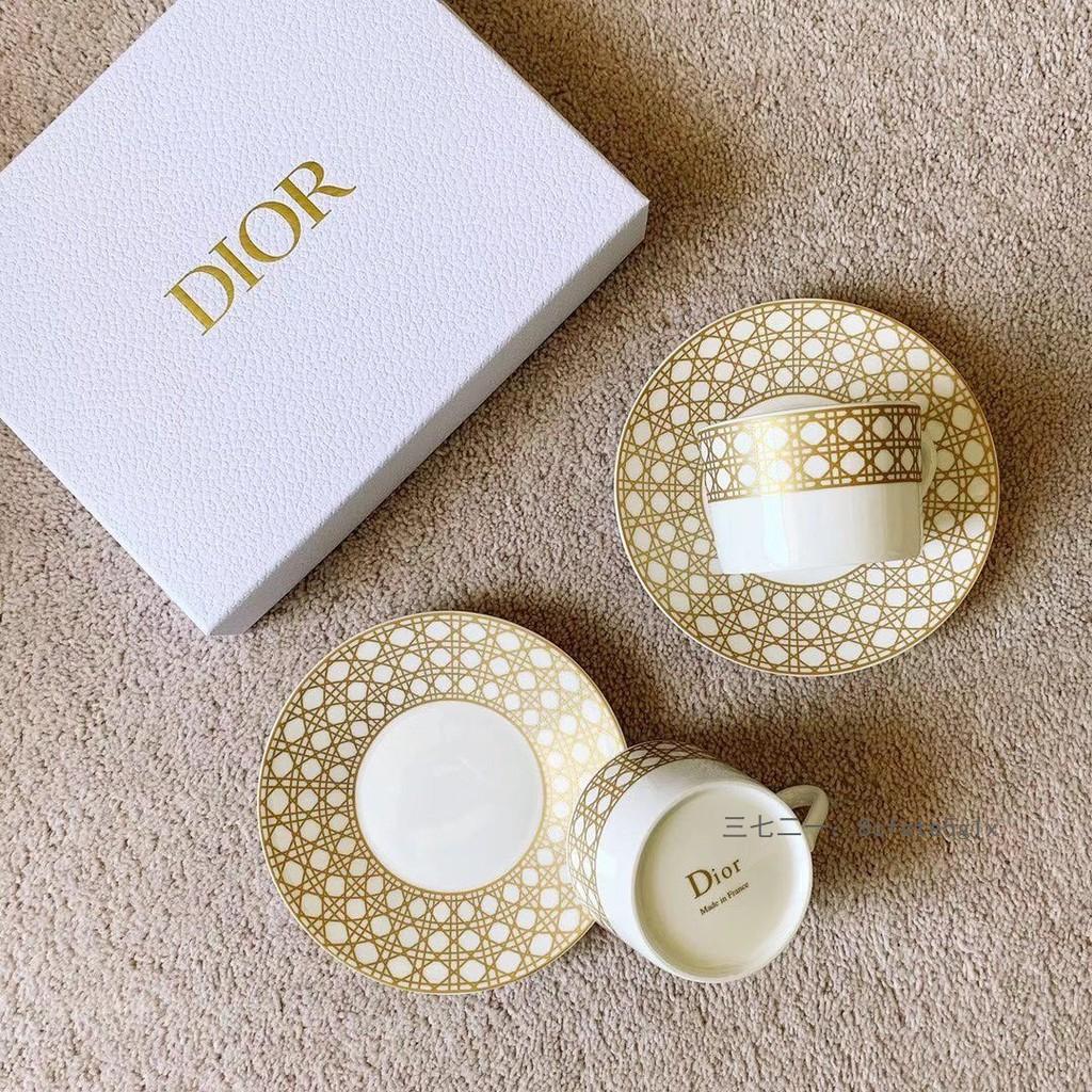 Dior 迪奧金色藤格紋裝飾咖啡杯碟 杯子禮物 聖誕禮物 男女朋友 情侶杯