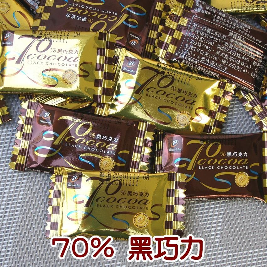 77(70%黑巧克力)。純素。。迷你波露巧克力。。。帶有些許的苦味。。好吃