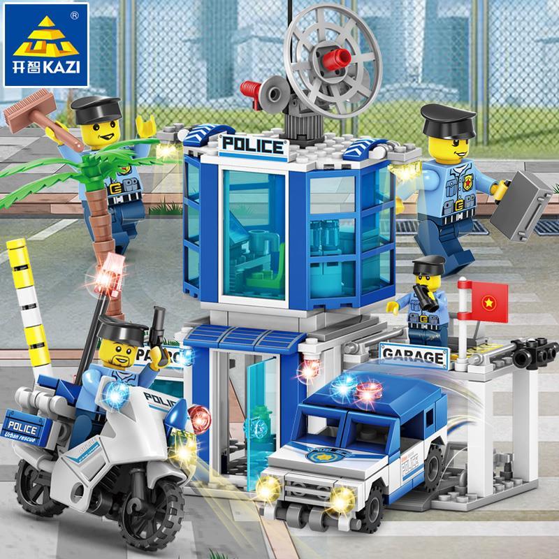 開智積木兼容樂高4合1拼裝城市警察局系列組裝警車男孩子拼插玩具