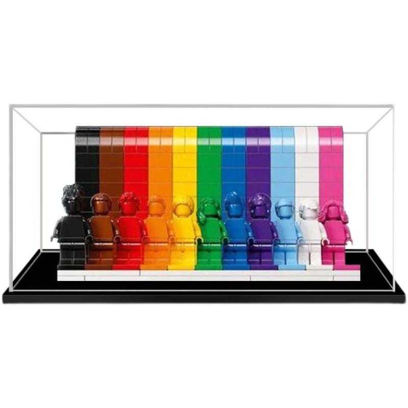 ♝◆亞克力展示盒透明適用LEGO手辦樂高彩虹素色人仔40516塑料防塵盒