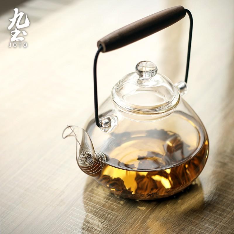 【九土JOTO】日式手工木提樑茶壺日式手工耐熱玻璃透明茶壺木提樑大容量燒水壺煮茶壺電陶爐用