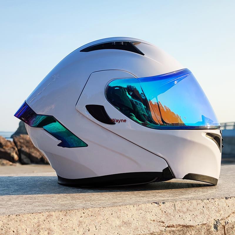 【簡易汽配】 Orz電動車頭盔男揭面盔雙鏡片半盔安全帽個性四季機車頭灰女