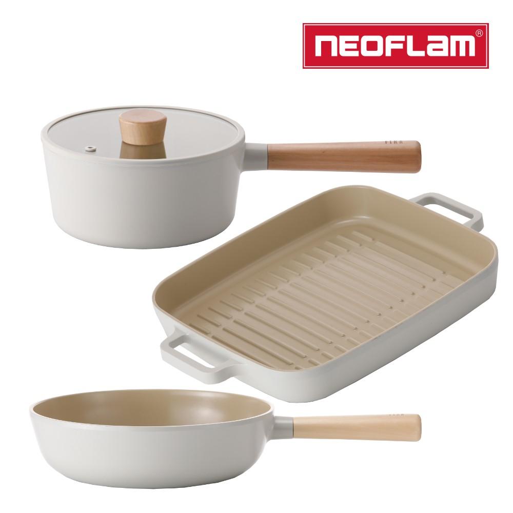 NEOFLAM FIKA系列鑄造不沾3鍋組(單柄湯鍋+炒鍋+烤盤) IH適用/不挑爐具/可直火