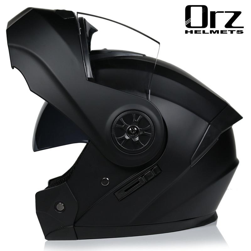 好料現貨 防護 安全 ORZ電動電瓶頭盔灰男女士全盔四季藍牙揭面盔夏季安全帽
