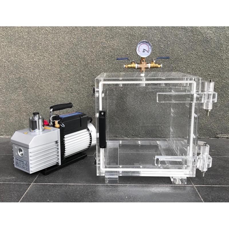 全透明30立方型真空脫泡機( VE-280D 1HP二段式高真空幫浦)--矽膠/樹脂/GK模型-各膠質類脫泡真空機