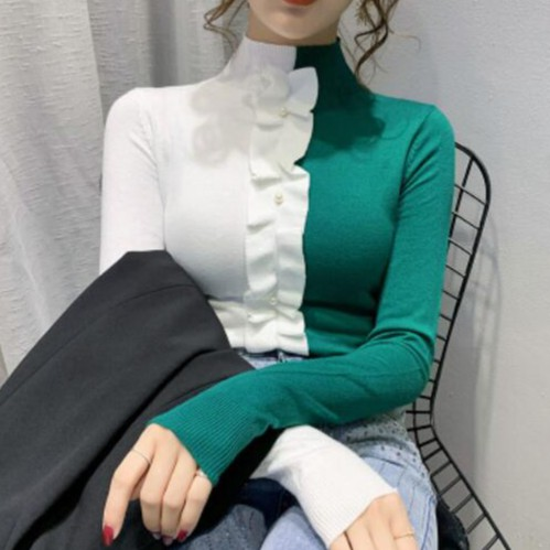 長袖拼接撞色毛衣 韓版半高領針織衫上衣 依多多 台灣現貨 1028
