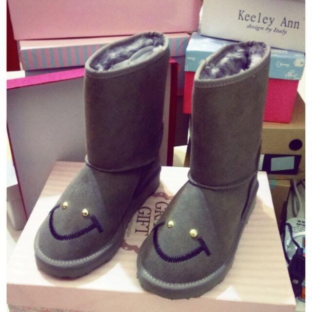 全新-gracegift笑臉雪靴短靴中筒靴雪花微笑-最後一雙