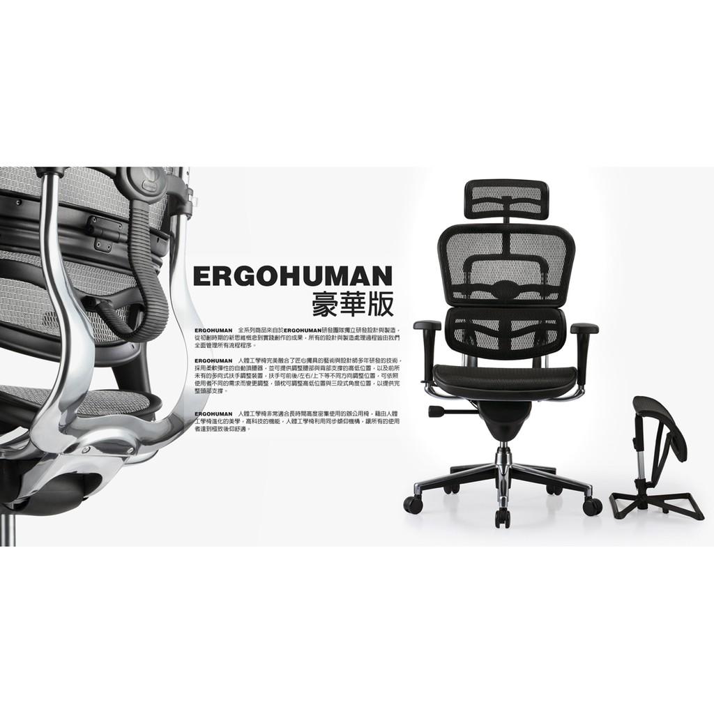 Ergohuman 111豪華版 人體工學椅 含組裝免運送補強腰靠 含五選一
