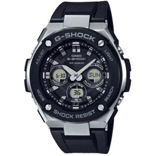 [CASIO G-SHOCK: G-STEEL系列 質感太陽能不鏽鋼霸氣雙顯腕錶-黑X銀框]GST-S300-1A 高雄市