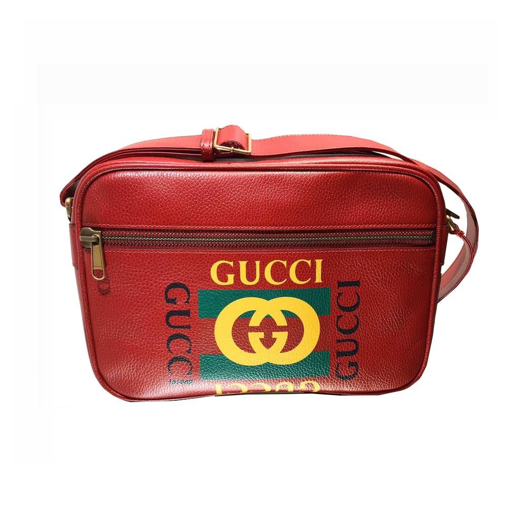 Gucci 古馳 中性款  5235890  Logo 圖紋黃油軟牛皮休閒郵差斜背包 紅色