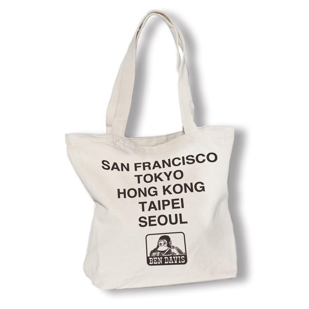 BEN DAVIS TOTE BAG B 米色 LOGO 雙面 世界 巡迴 帆布包 托特包 包包