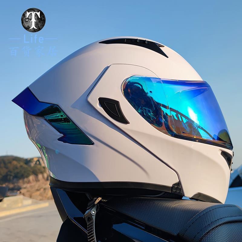 2021夏季 Life  ^&^Orz電動摩托車頭盔男揭面盔雙鏡片半盔安全帽個性四季機車頭灰女