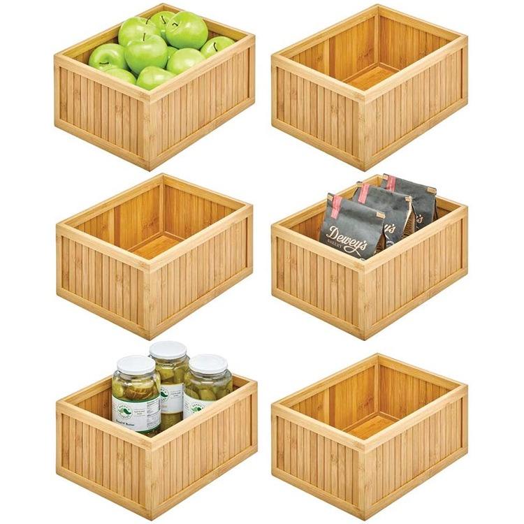 新款木製儲物籃竹製儲物盒零食水果收納籃