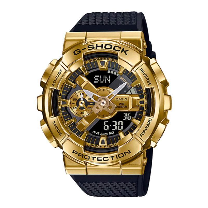 CASIO G-SHOCK 全金屬外殼 高質感雙顯電子腕錶GM-110G-1A9 (黑X金)