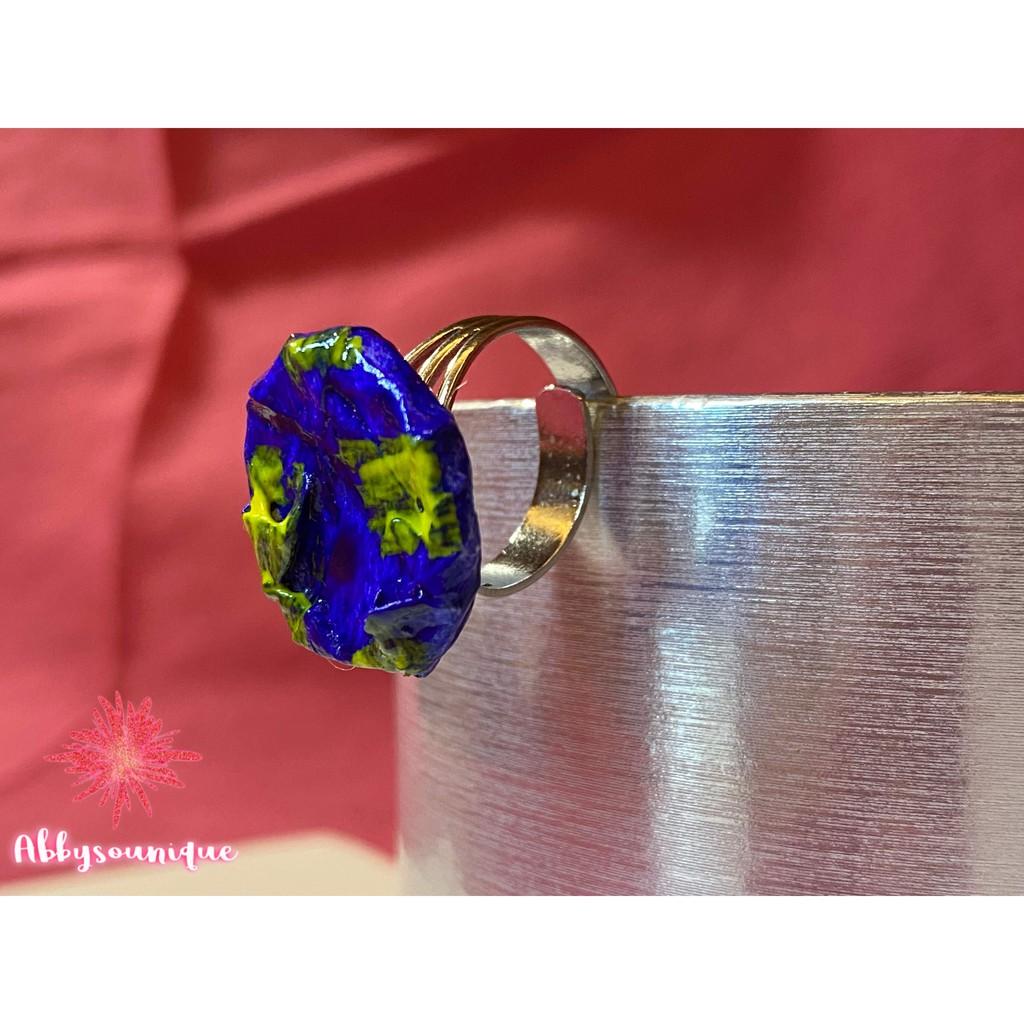 Abbysounique 來自義大利的寶藍黃紙漿藝術戒指 (純銀 戒指 手工)
