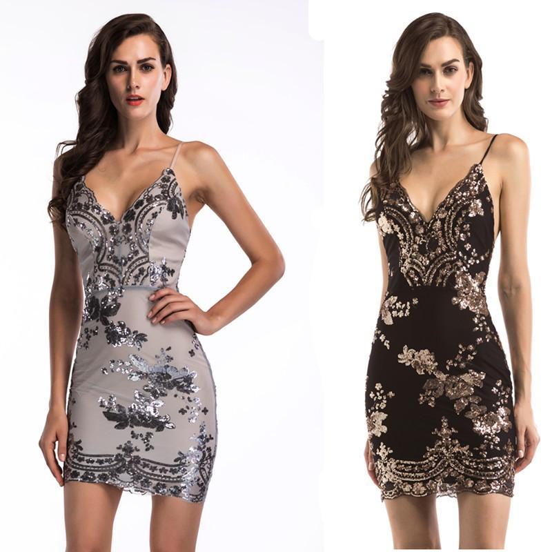 【亮片款】歐美女裝性感深V領吊帶露背亮片多色連衣裙長裙 禮服 古典美 性感 洋裝 美背 主持