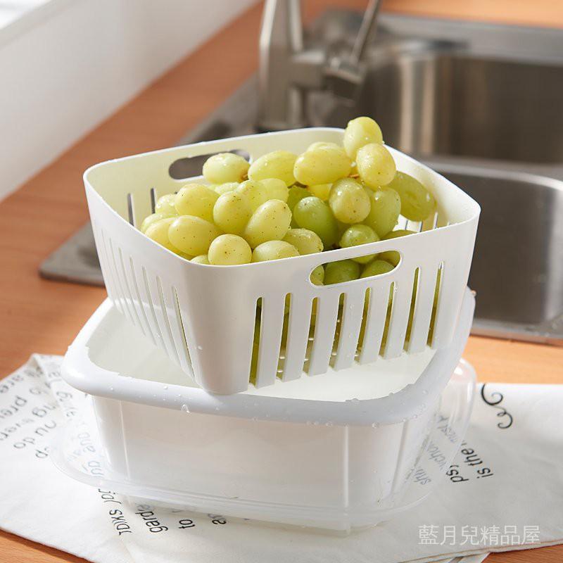 【qpid12】雙層水果收納盒廚房家用冰箱洗菜帶蓋水果盤瀝水籃盆子塑料保鮮盒