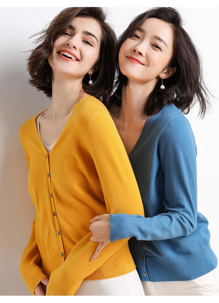 秋冬季新款寬鬆毛衣開衫V領短款寬鬆毛衣外套百搭針織開衫女