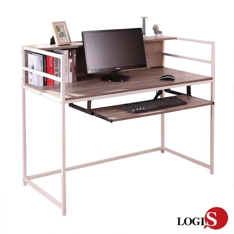 LOGIS 白樺工業風電腦桌A18-W 拚木辦公桌 書桌 工作桌 工業風 二層書架 耐磨PVC防潑水 桌面附插座