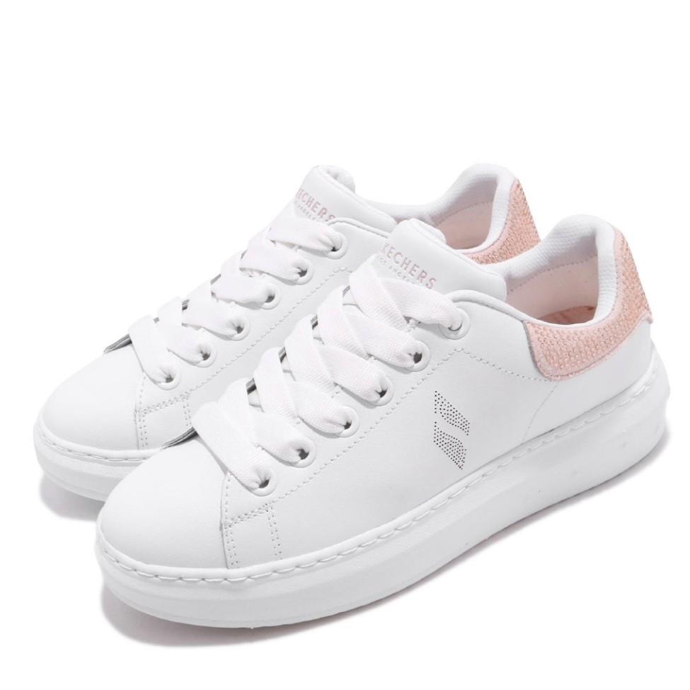 skechers HIGH STREET 美版水鑽 增高鞋 明星款 記憶鞋墊 白粉 女版 73707WPK