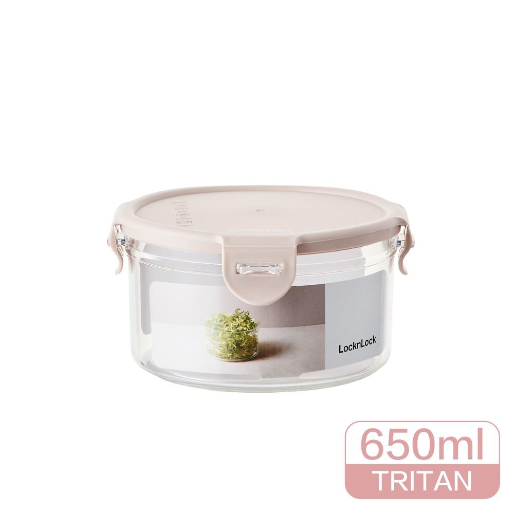 樂扣樂扣 Bisfree純淨抗菌保鮮盒 650ML-圓形粉色
