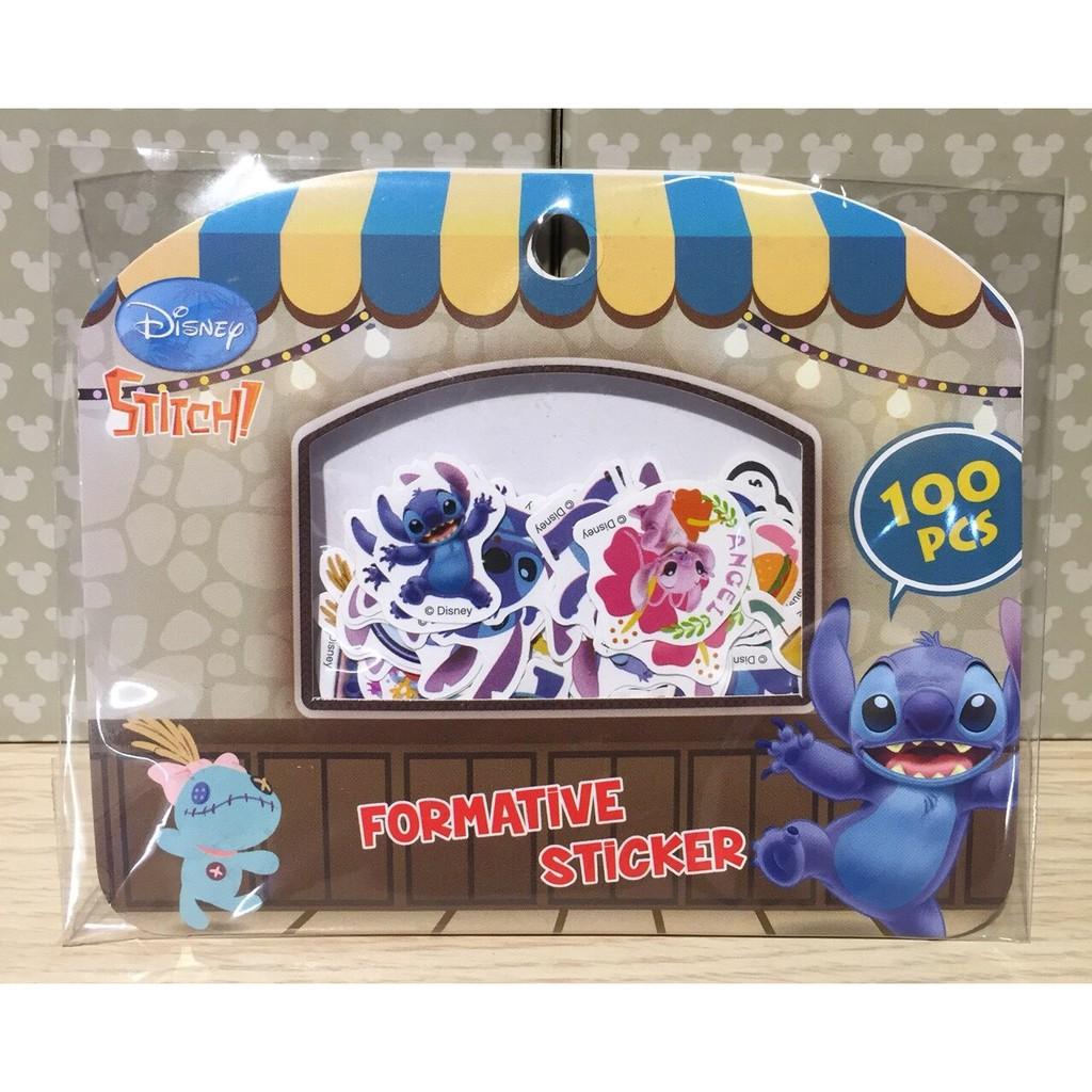 正版授權 迪士尼 史迪奇 顆粒包 貼紙 100枚