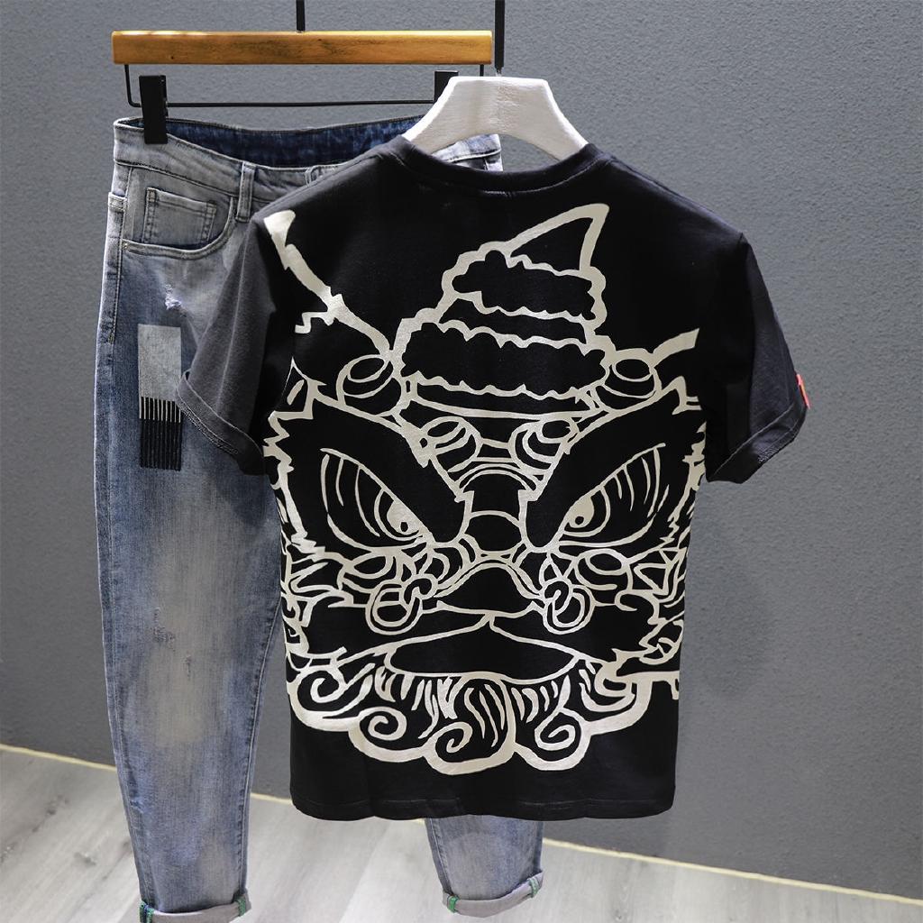國潮短袖t恤男潮牌個性中國風印花圖案半袖青少年國潮打底衫