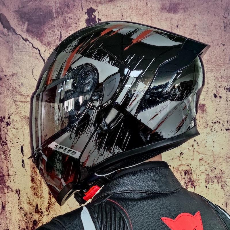 安全帽 機車頭盔 全罩安全帽 半罩安全帽 頭盔 機車 騎士Orz電動車頭盔男女揭面盔雙鏡半盔個性街車越野盔四季通用頭盔