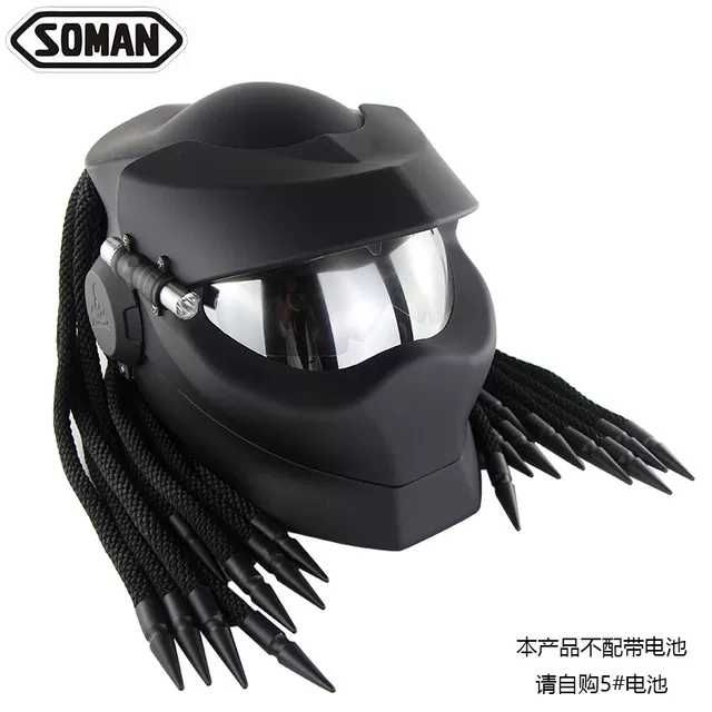 (硬骨頭)soman 鐵血戰士 終極戰士 Predator 安全帽 嬉皮 哈雷 重機 面罩可掀 雷射(非masei)