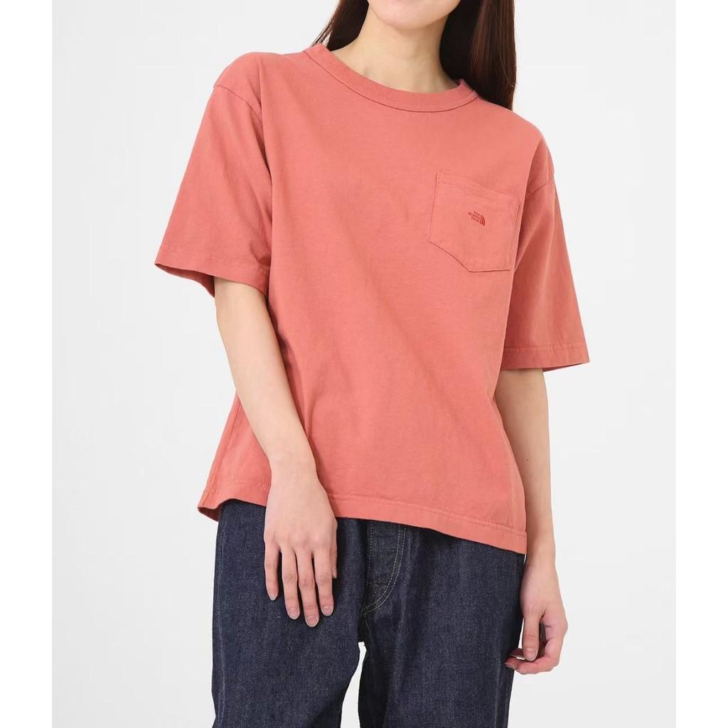日本The North Face北臉紫標口袋短袖棉質T恤上衣