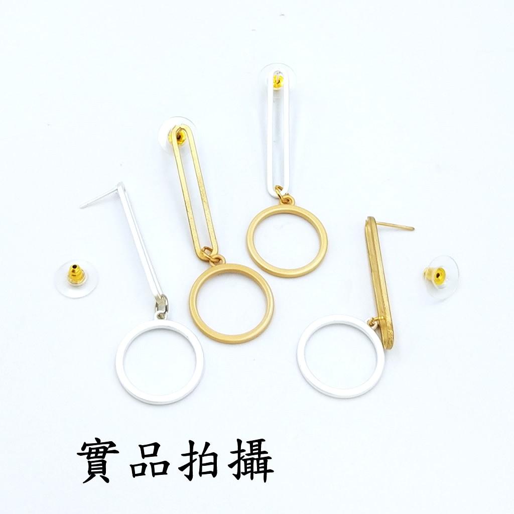 垂墜耳環 防過敏鋼耳針 圈圈耳環 超長雙圓環 艾豆『B3998』