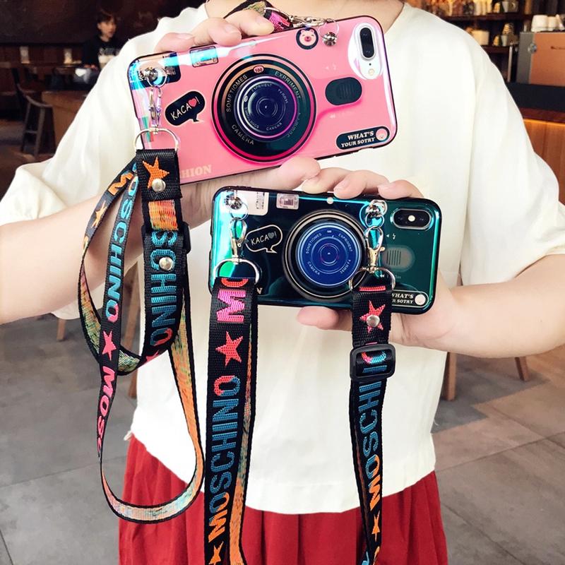 復古藍光相機斜掛繩手機殼 一加手機 OnePlus 8 7T 7 Pro 6T 6 5T 5 1+8 1+7T 保護殼
