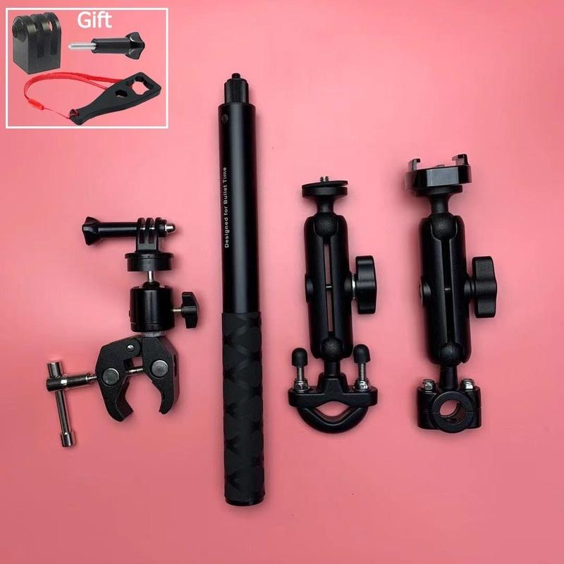 用於 GoPro DJI 和 Insta360 One R 隱形自拍桿自行車夾的摩托車相機支架車把安裝支架三六九七七