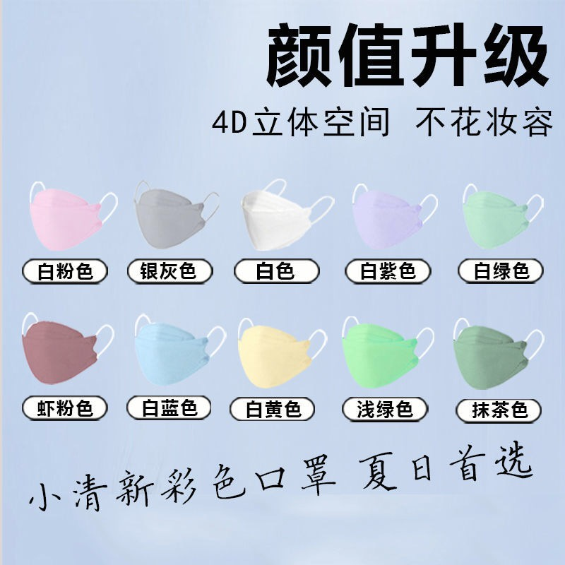 韓國KF94口罩防飛沫 魚型口罩 3D立體口罩 成人口罩 多色口罩 超薄 時尚彩色