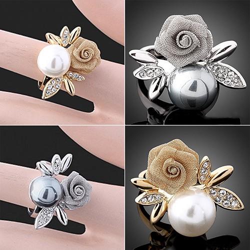 TENTHOUSAND時尚鑲鑽珍珠玫瑰花朵戒指ŤȫȭȪ正妹必備靚貨