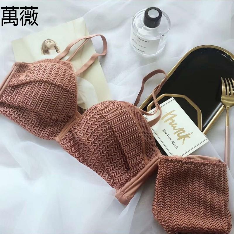 【萬薇】夏季新款 深V蕾絲小胸集中爆乳內衣 中模杯無鋼圈上托調整型胸罩