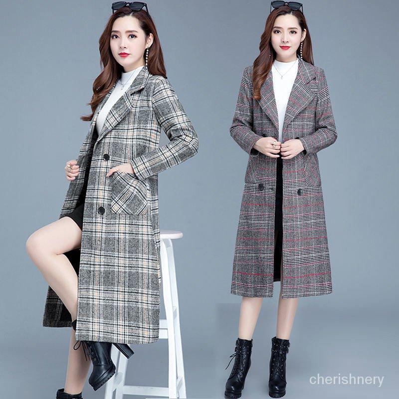 女式毛呢秋冬千鳥格氣質時尚大衣韓版修身