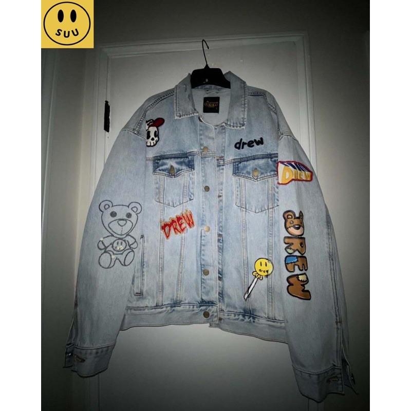 [Suu代購]Drew House 笑臉多元素  徽章拼繪插畫牛仔夾克外套