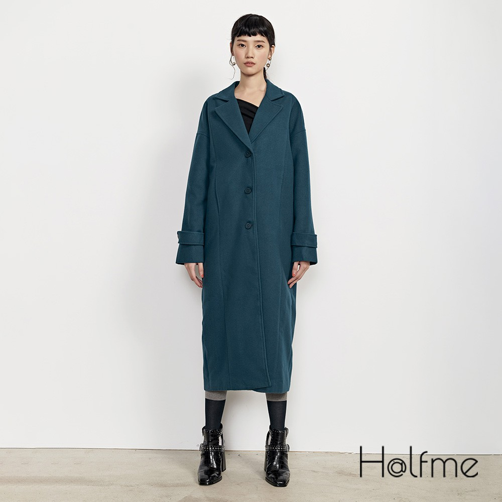 Halfme 經典單排釦長版大衣 - 女
