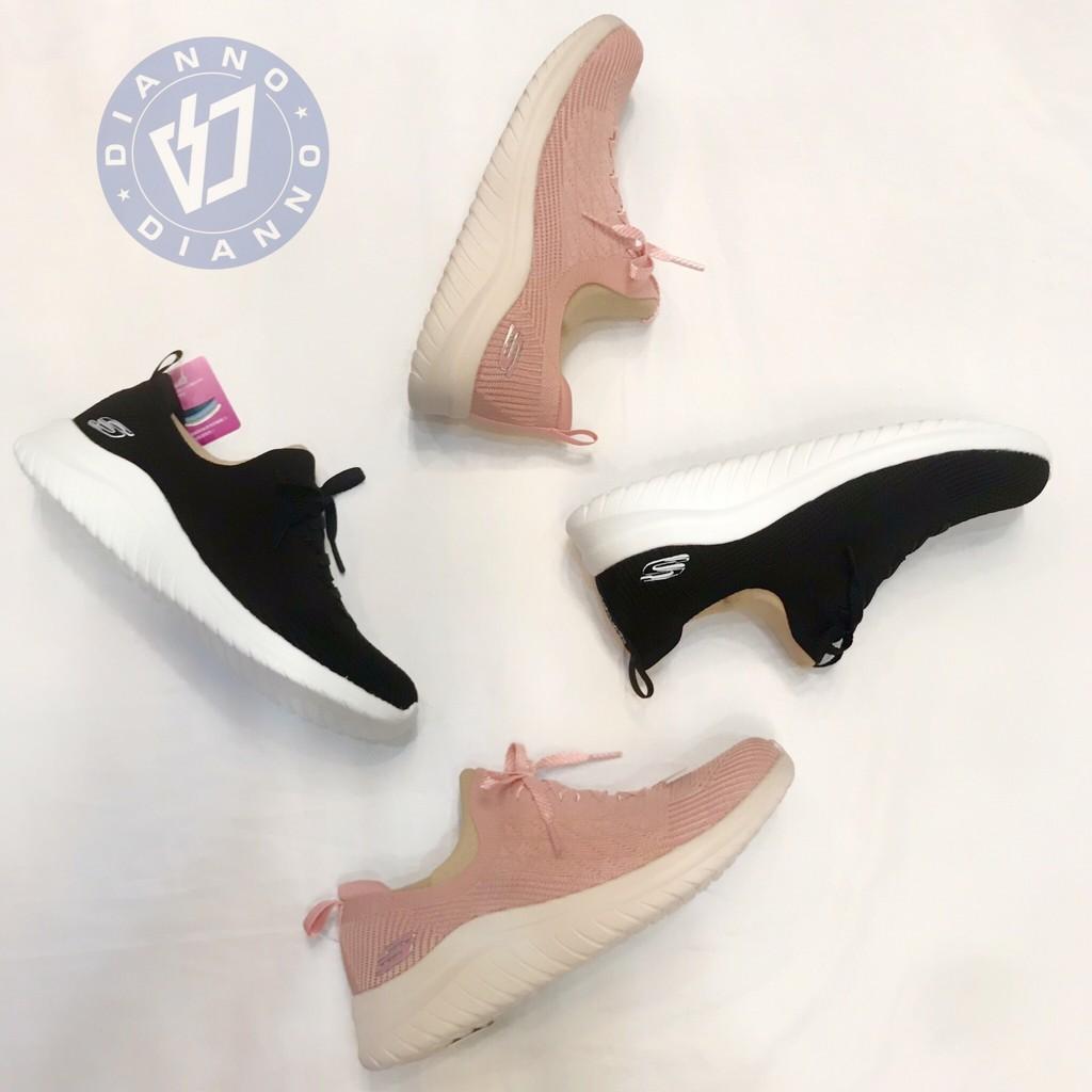 帝安諾-實體店面 Skechers Ultra Flex 增高 黑色 粉色 13356WBKS