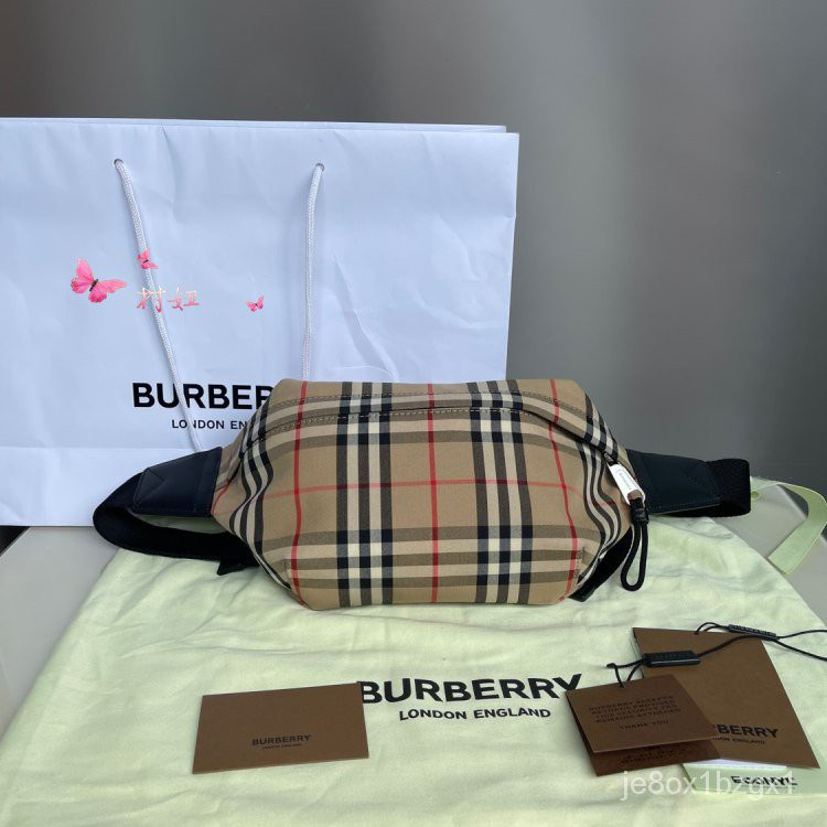 二手 專櫃正品 BURBERRY 博柏利 中號 Vintage 駝色格紋 棉質腰包 胸包 斜挎包 80104301 Ot