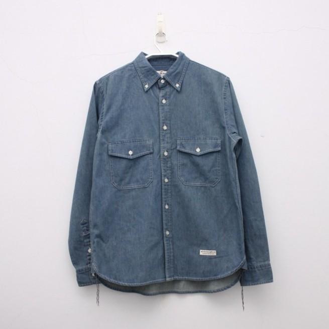 水洗單寧淺藍工作襯衫
