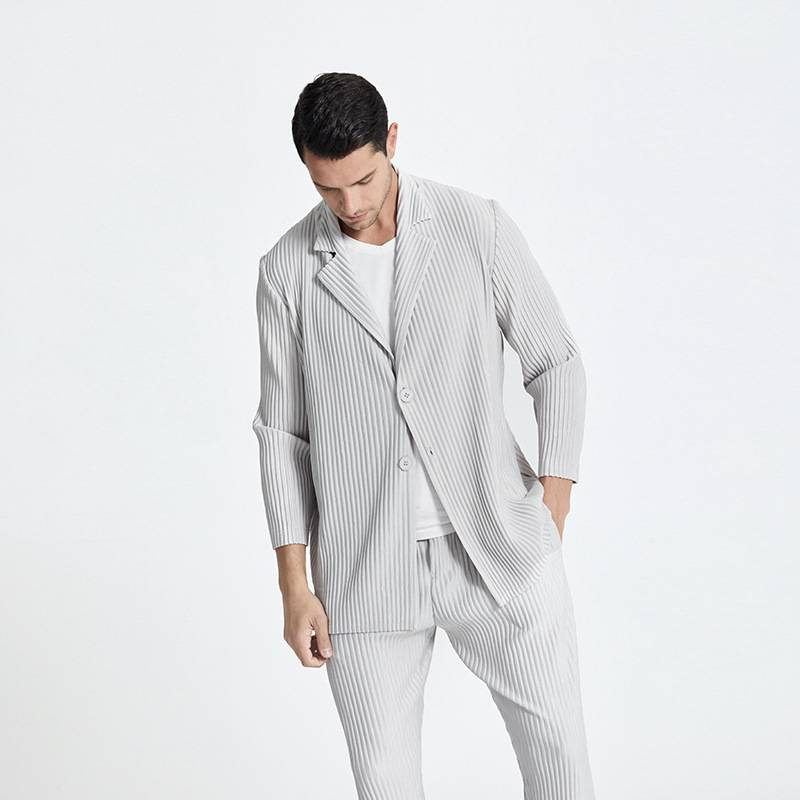 褶皺男裝休閒西裝外套2021夏季新款男士風衣開衫